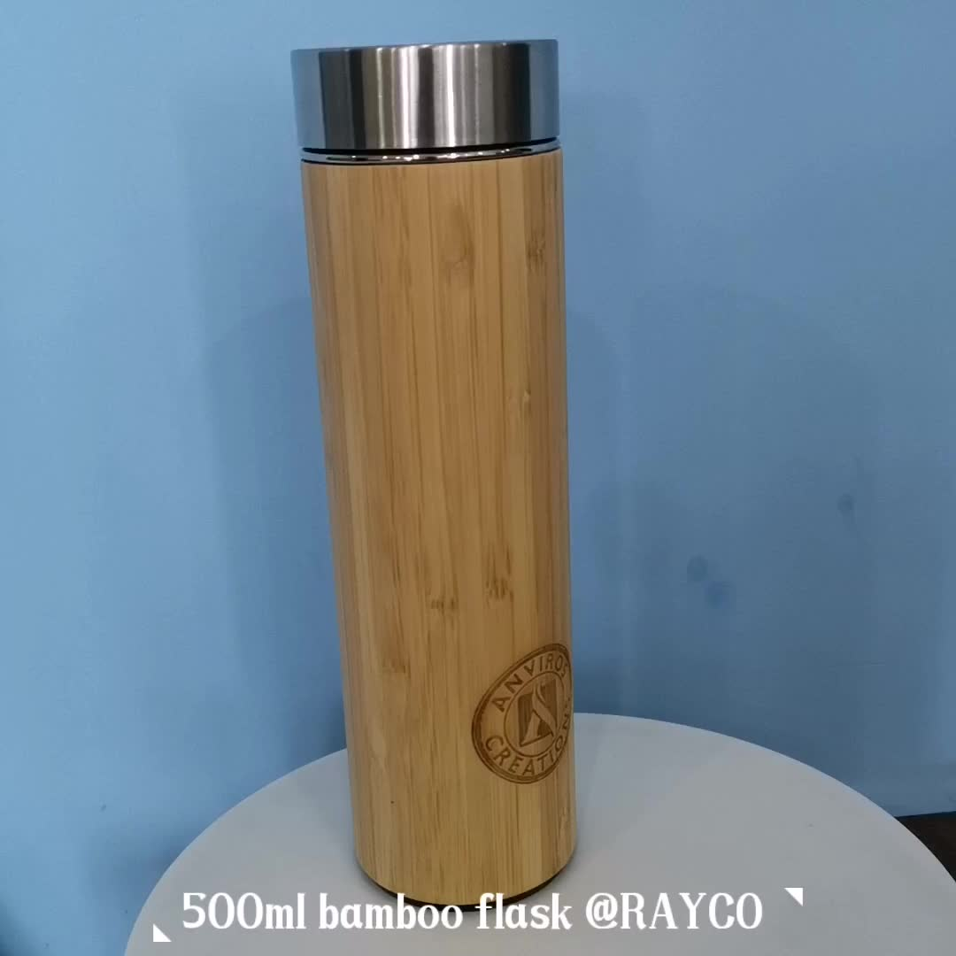 Eco-friendly large insulated bamboo drinking tumbler thermo cup