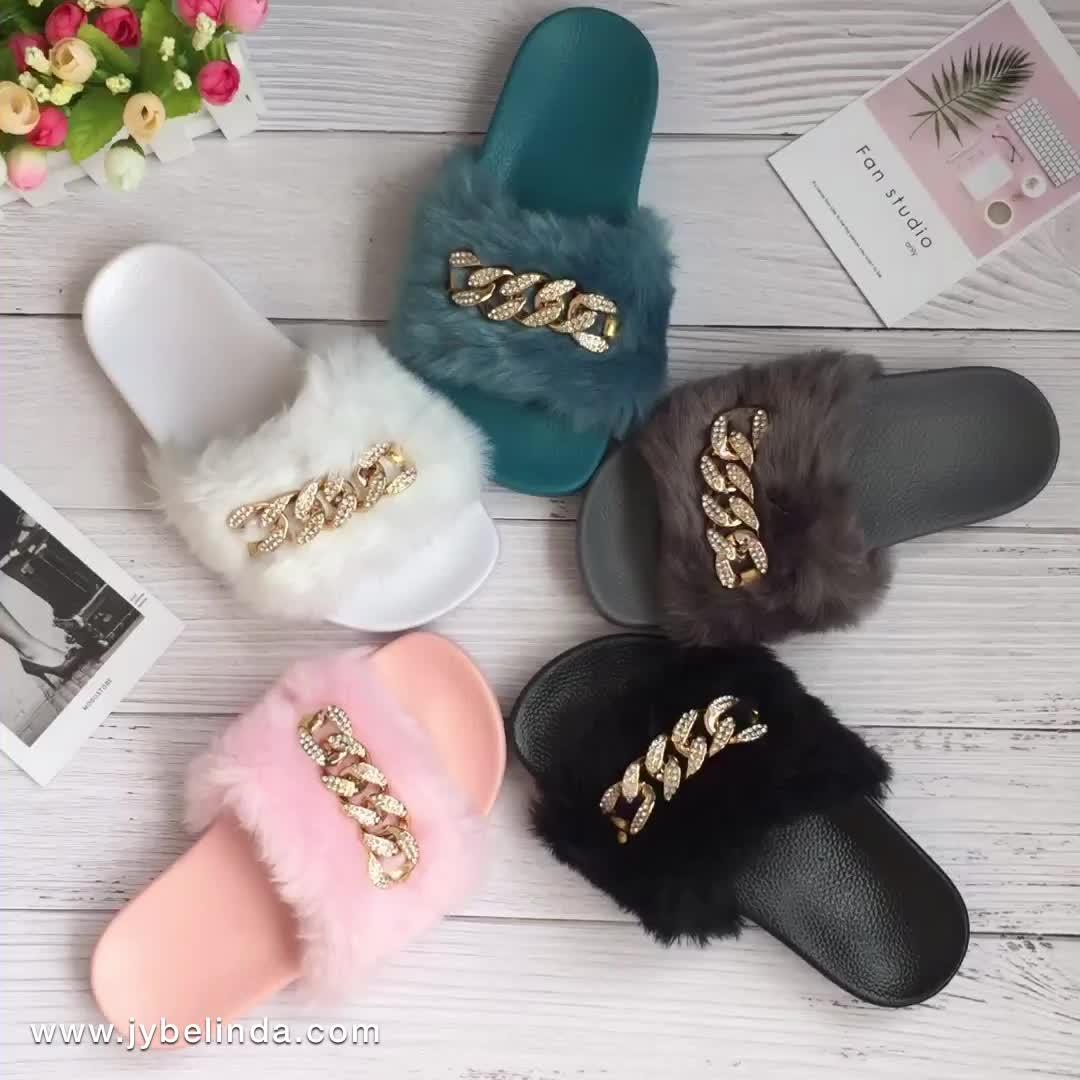 Slippers Women Wholesale Lady fashion shoes Mink Sandals Fur Slides