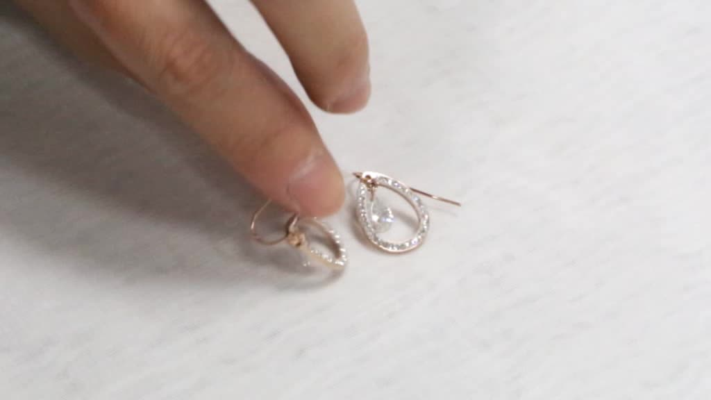 Factory Supply vrouwen Rvs 18 K Rose Gold Plated Fashion Crystal Oorbellen