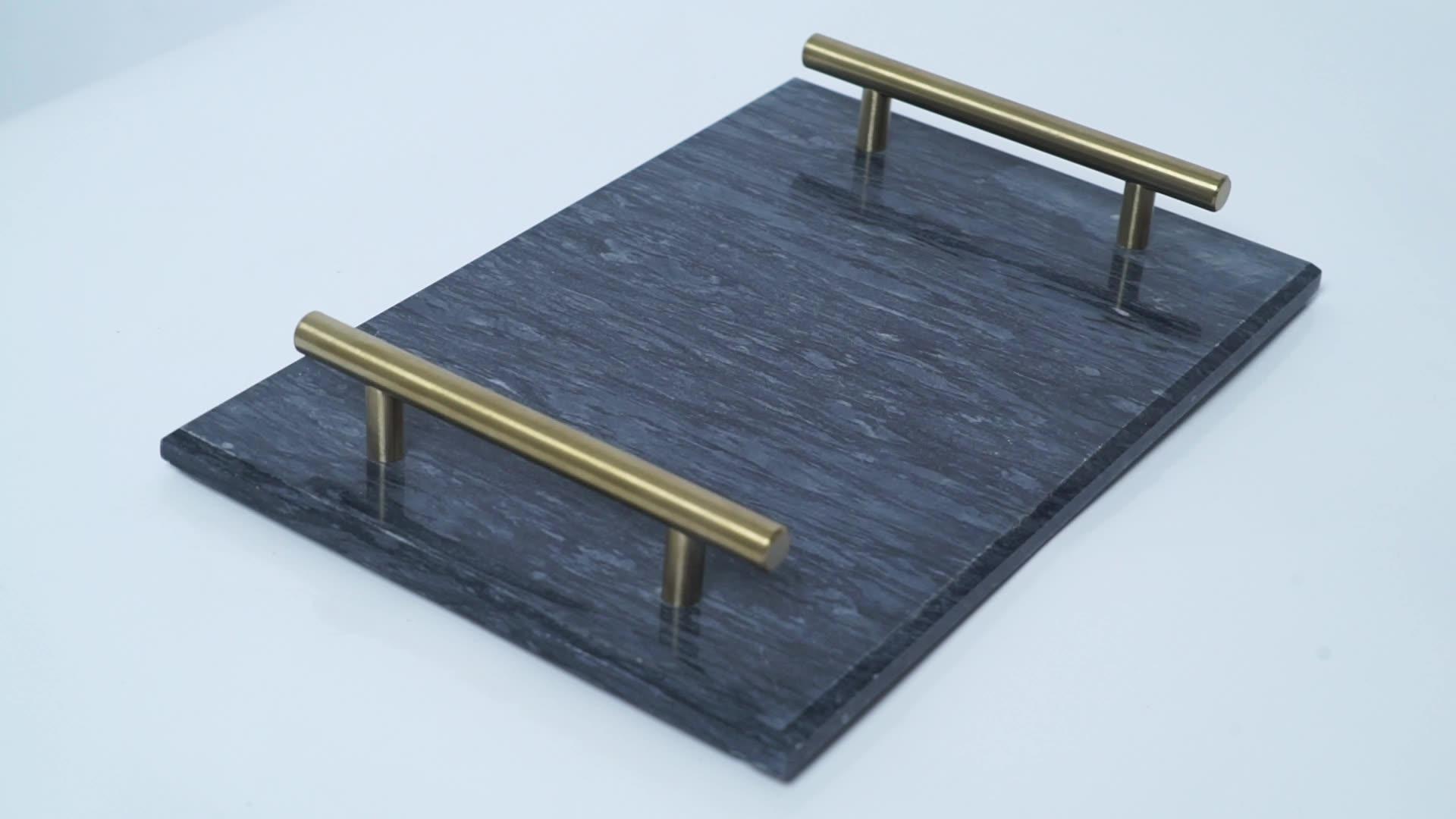 China Modern Wit Zwart Custom Rechthoek Marmeren Dienblad Met Gold Handgrepen