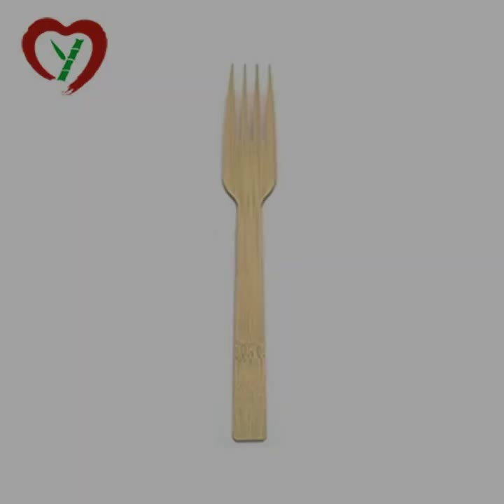 Disposable Bamboo Utensil Knife Fork Spoon Cutlery Set With Paper Bag Packing