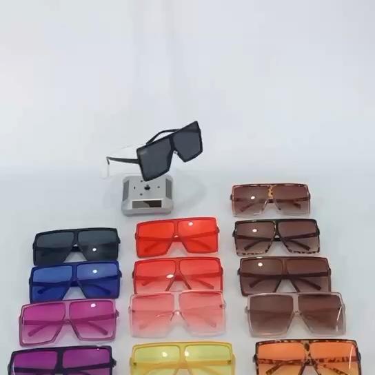 Ins popular big frame sunglasses for women tint color square oversized custom sunglasses