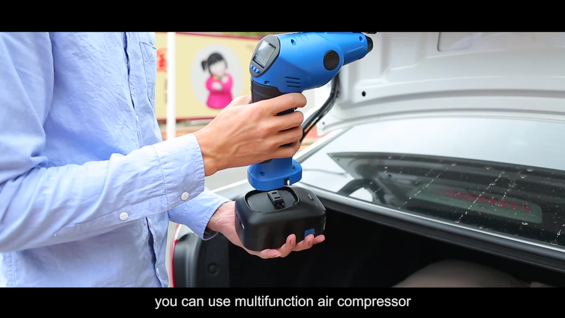 HOT SALE digital portable cordless car air compressor air inflator pump  rechargeable multifunctionable 12V 150PSI