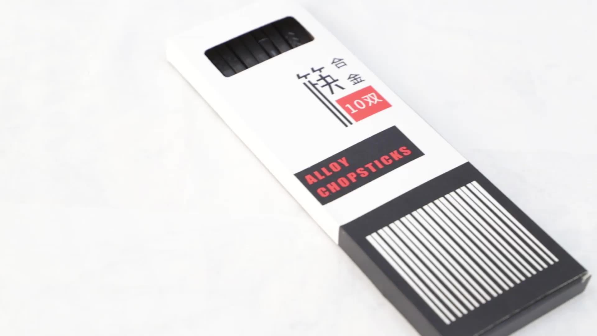 Oem food grade fancy personalizzato logo stampato riciclato in fibra di vetro nero bacchette sicuro