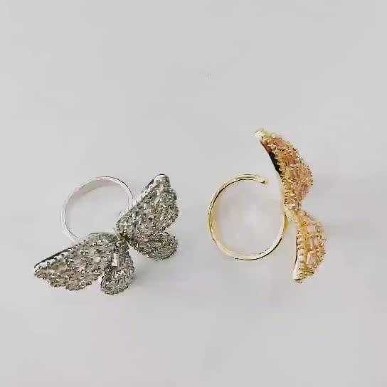 Zircon cubique papillon doigt réglable cristal mode femmes bagues pour dames bijoux femmes tendance 2019
