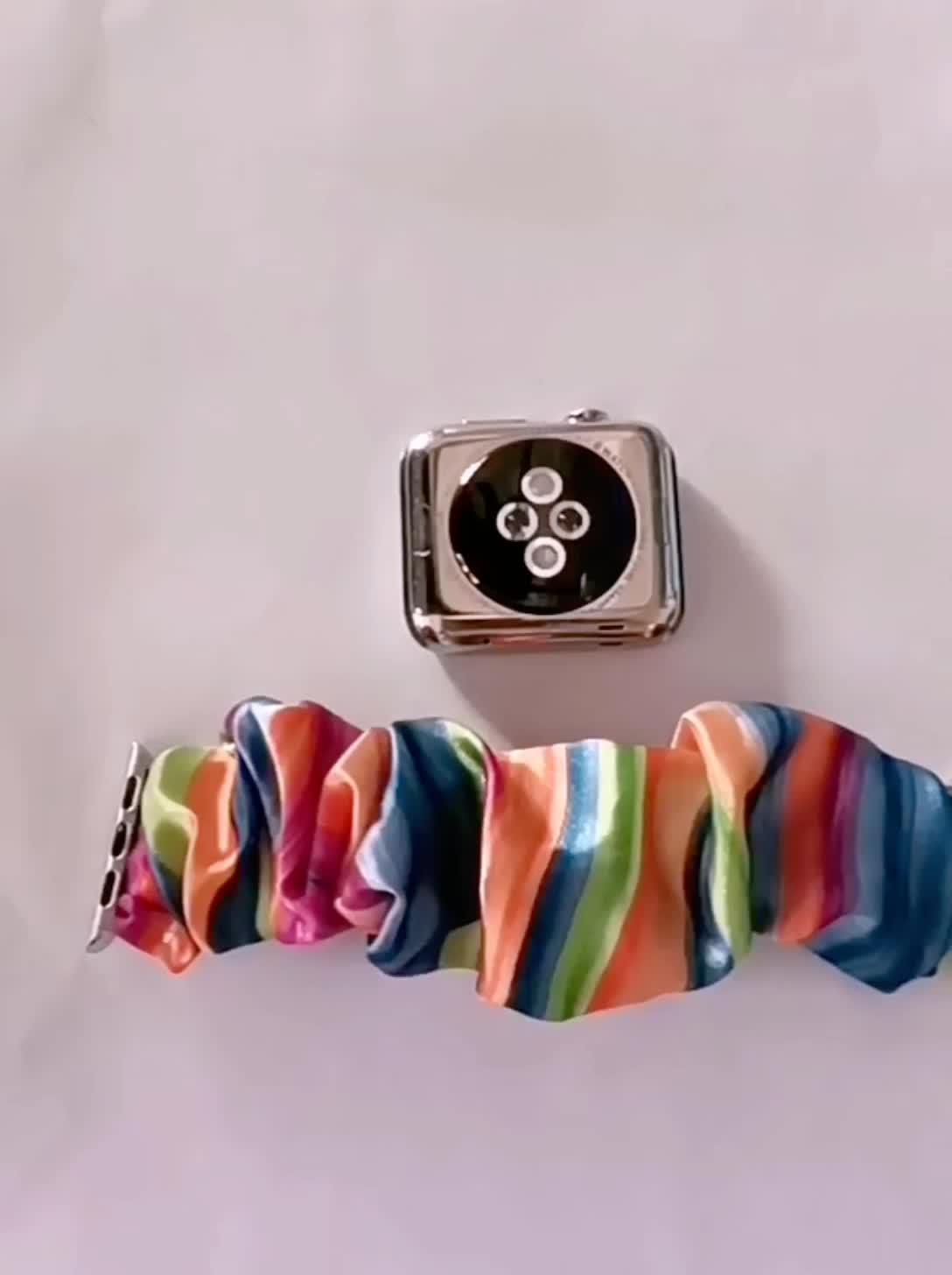 נשים פצפוץ נמתח להקת שעון החלפת צבעוני רך בד פצפוצי שעון רצועת עבור אפל iWatch Wristbands 38/44mm