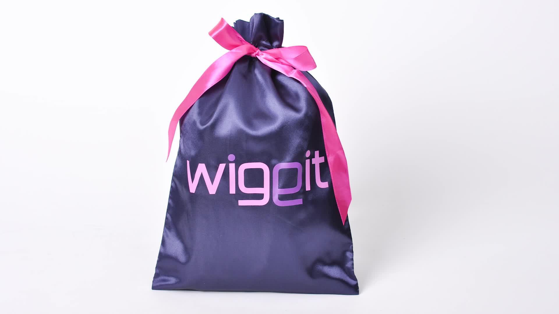 Hitam satin sutra ekstensi rambut tas dengan logo kustom dan rumbai