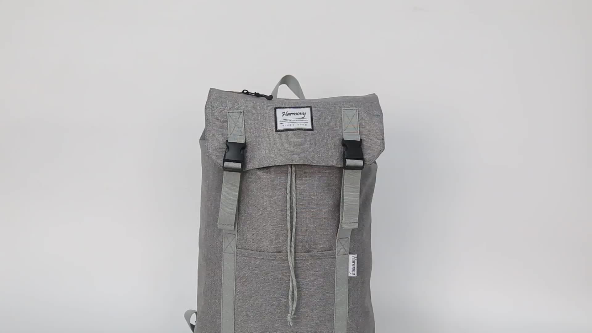 Özel Rahat moda tuval okul sırt çantası gri sırt çantası üniversite için saplama