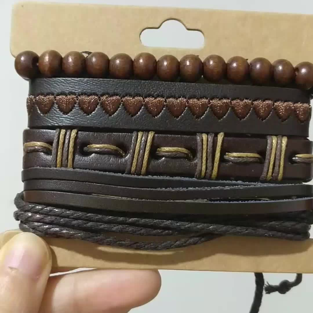 New Vintage Woven Handmade 4 Piece Leather Custom Rope Bracelet Men Jewelry Leather Love Heart Embroidery Bracelet