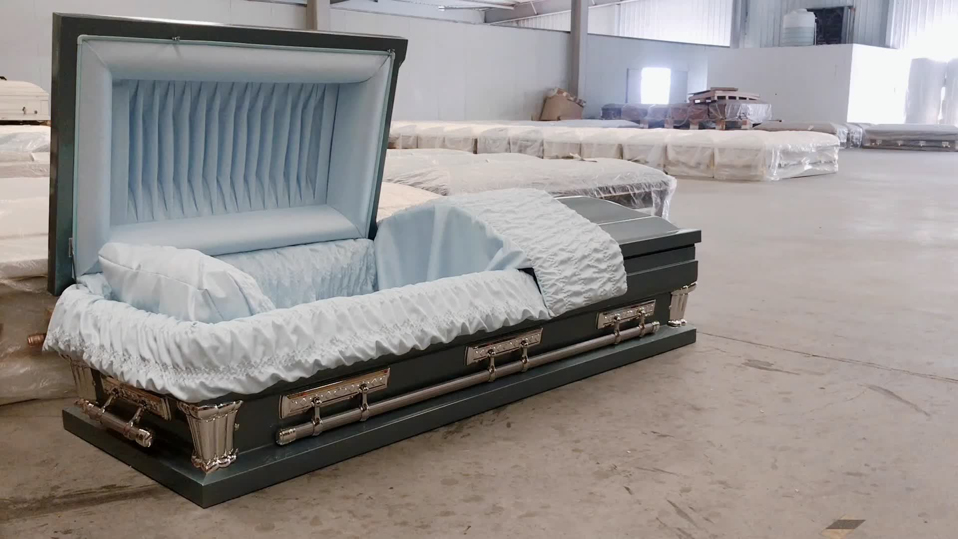 एना गर्म बिक्री बड़ा आकार अमेरिका शैली 18 गा स्टील अंतिम संस्कार आपूर्ति ताबूत डिबिया