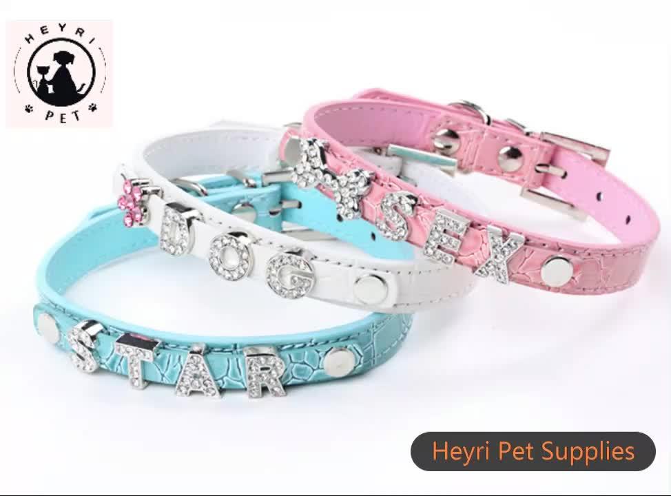 Deri yaka DIY evcil hayvan adı anti-kayıp köpek zinciri 11 renkler pet köpek tasması yumuşak deri DIY Taklidi takılar yavru köpek tasmaları