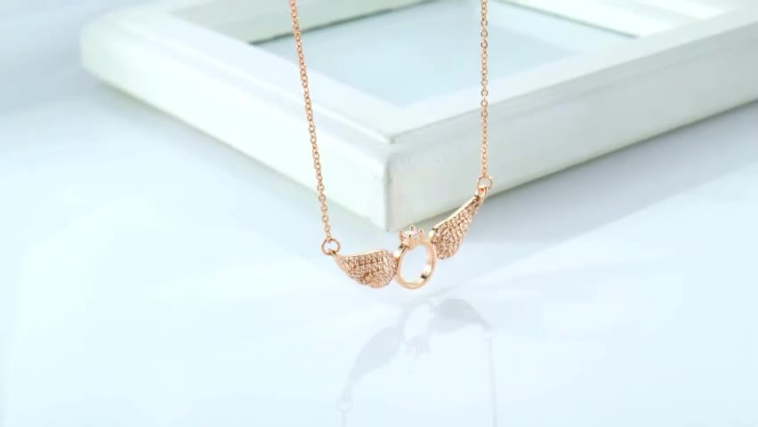 Plated Rose Gold Jewelry Fashion Women Ring Angel Wings Necklace