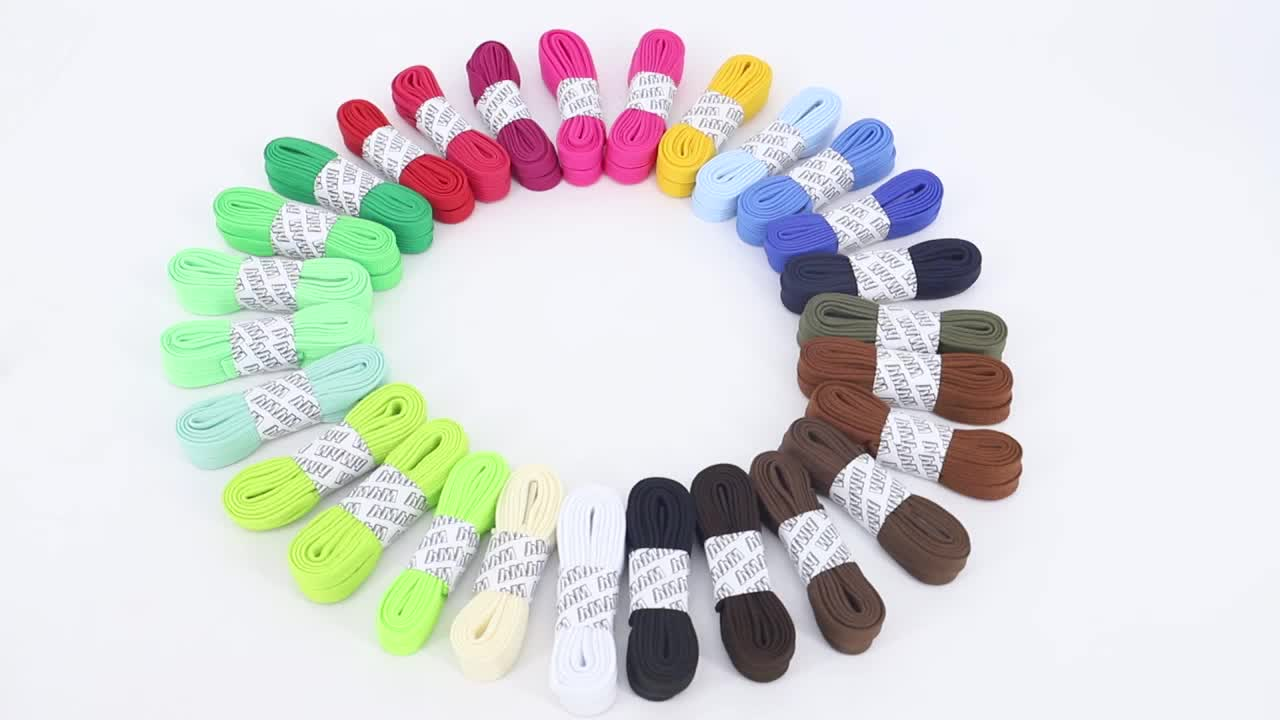 Wholesale Fashion Durable Colorful Polyester Flat Tube Shoelace with 14 Colors