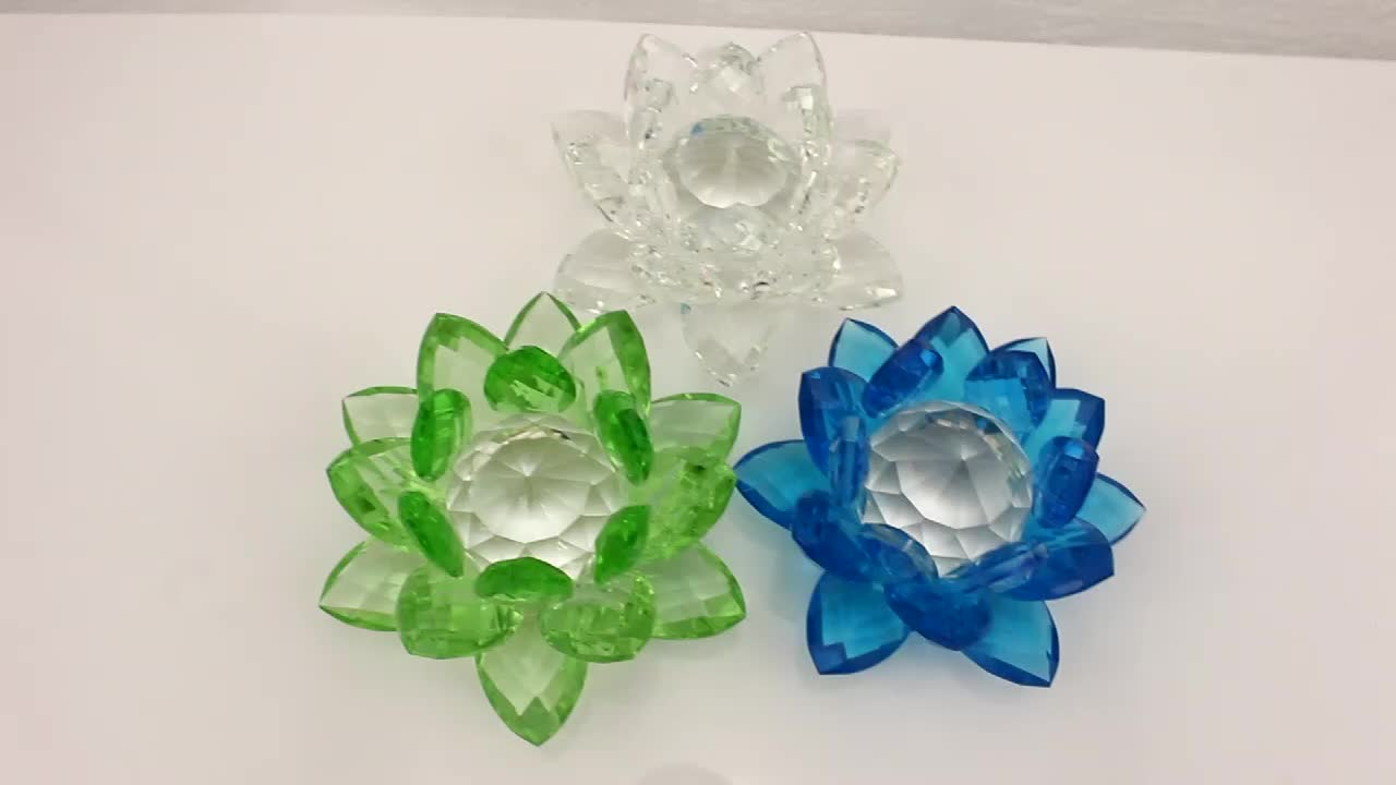 New gifts Artificial K9 glass crystal lotus flower/Crystal Lotus Wedding Gifts /Glass Lotus  with gift box for souvenir