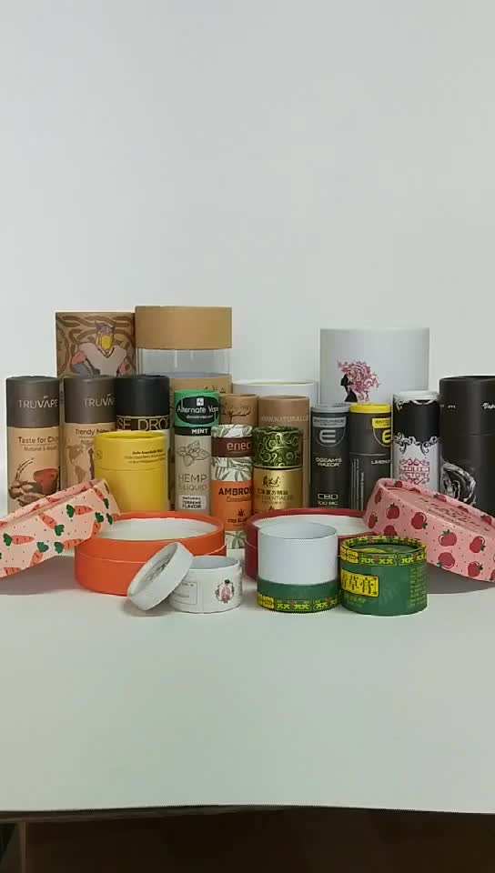 Özel baskı için kağıt tüp ambalaj ile şarap dize/silindir kutusu için oyuncaklar/serum/kurutulmuş meyve vb.
