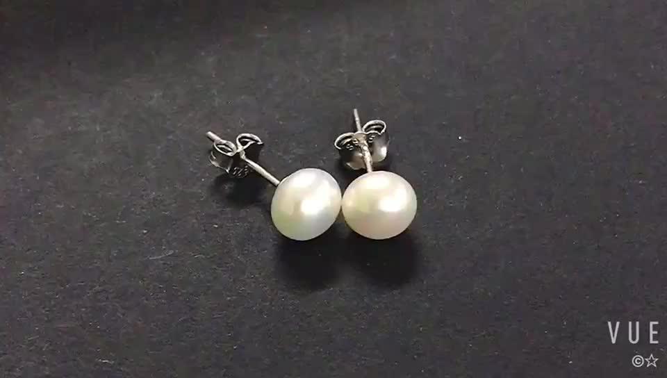 Wholesale Freshwater Pearl Earrings, 7-8mm Pearl Stud Earring, PearL 925 Silver Earring Studs