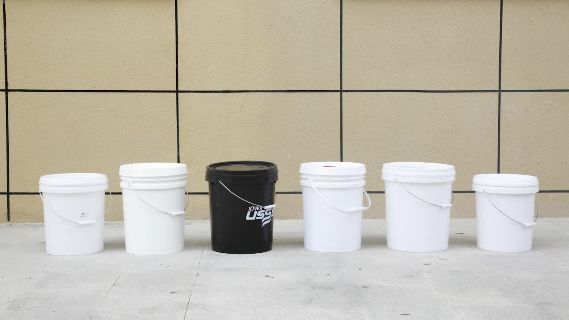 20l 20 liter 5 gallon custom white food grade plastic bucket with lid and handle