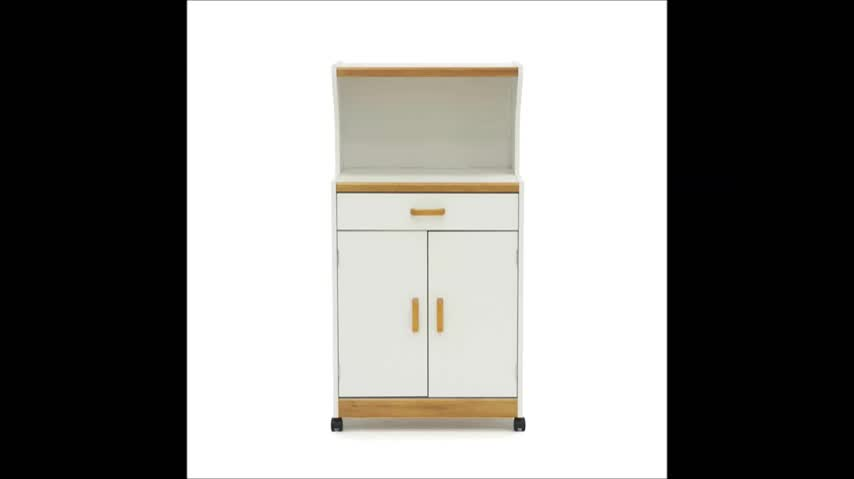 modern design MDF wood Cart Stand with Drawer and Two Doors Flexible Casters Home Kitchen Cabinet