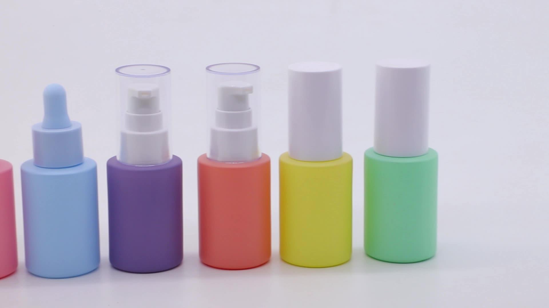 En stock 1oz 30ml verde azul amarillo color rosa púrpura de botellas de cuentagotas de vidrio para la venta al por mayor