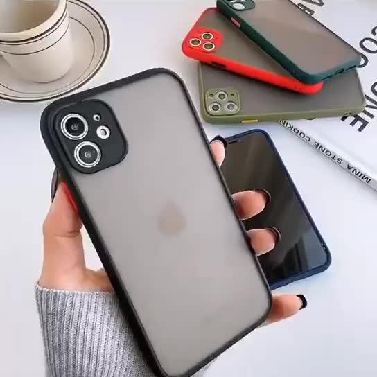 ברור מט חלבית שריון קשיח מחשב מצלמה מלא הגנת פגוש עמיד הלם באיכות גבוהה צבע כפתור טלפון מקרה עבור iphone 11 x