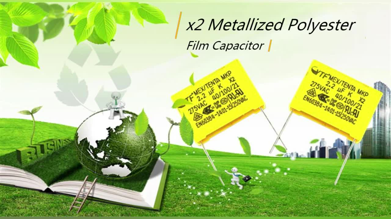 2018 New And Original Metallized Polypropylene Film 225k 15mm Mkp X2 Capacitor 0.22uf 275v