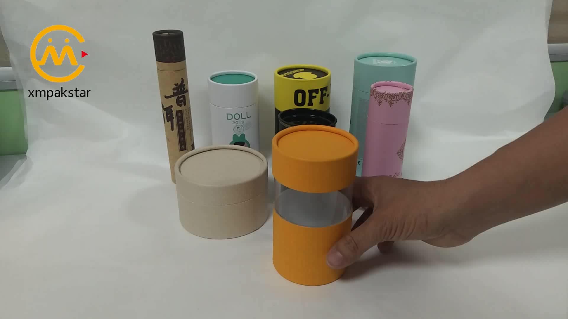 Custom printing cardboard round paper tube box with PVC window for t-shirt
