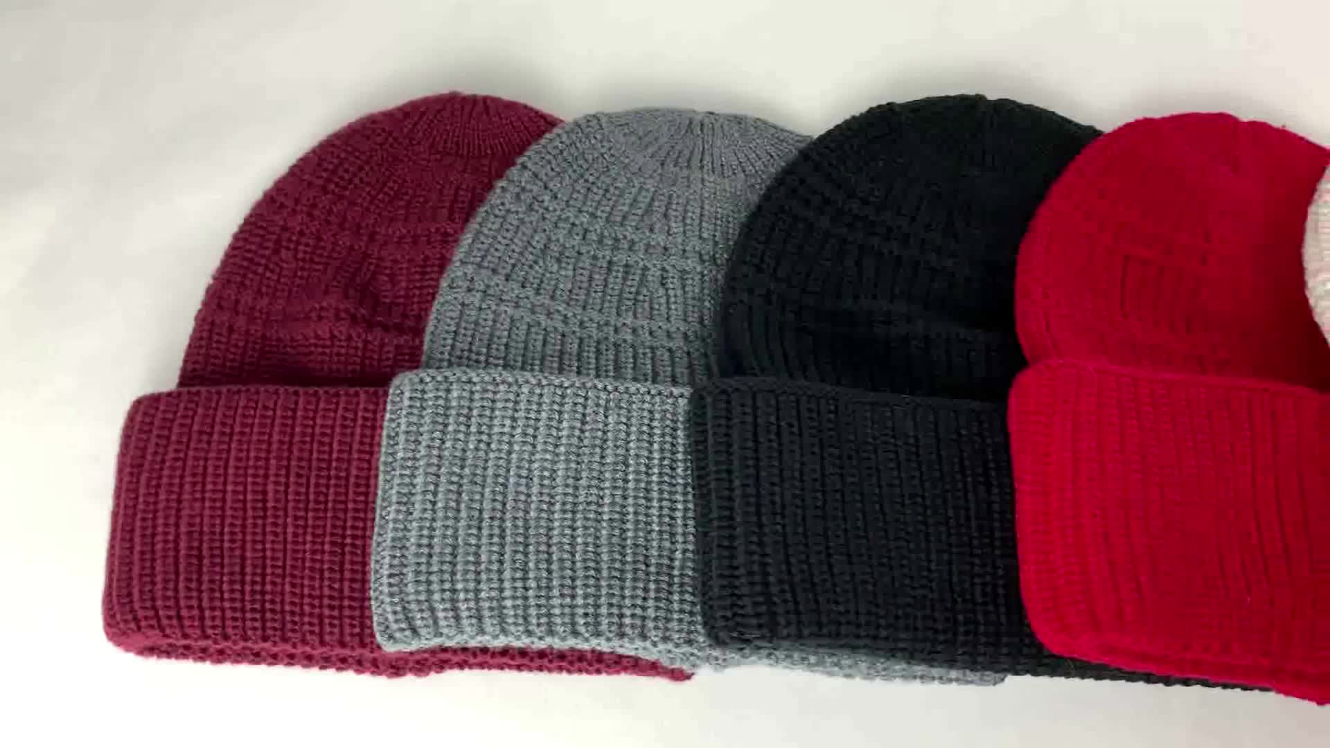 Warm knitted snow ski winter high quality ribbed male cap hat