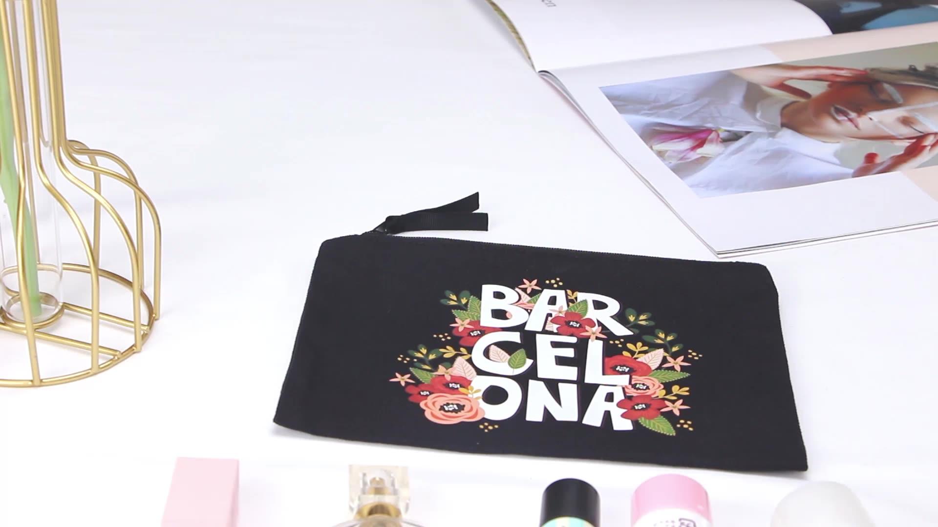 Organische baumwolle leinwand zipper dame make-up tasche mit gedruckt logo