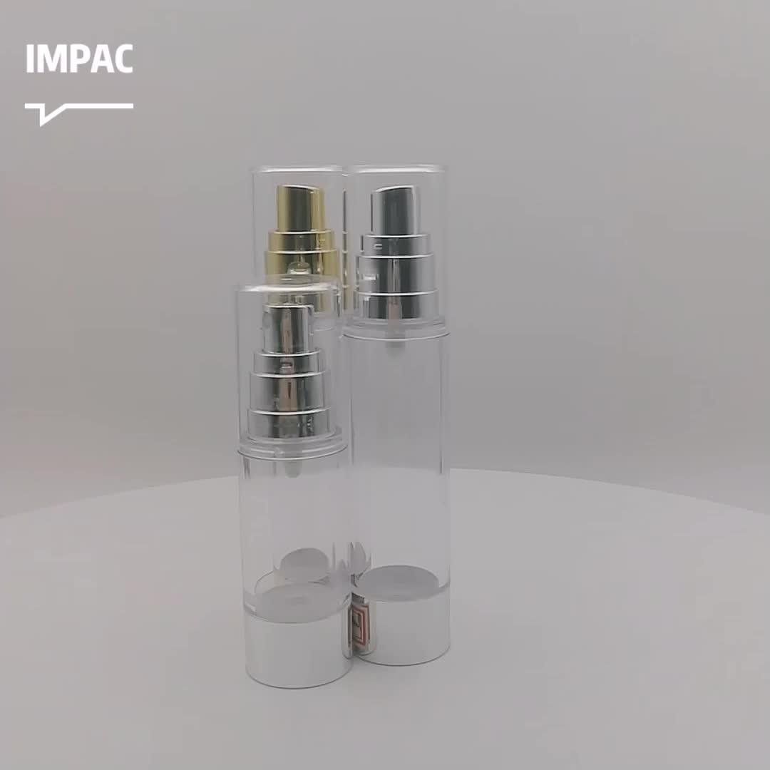 Shiny Metallic Cosmetic Packaging 50ml Plastic Airless Spray Pump Bottle