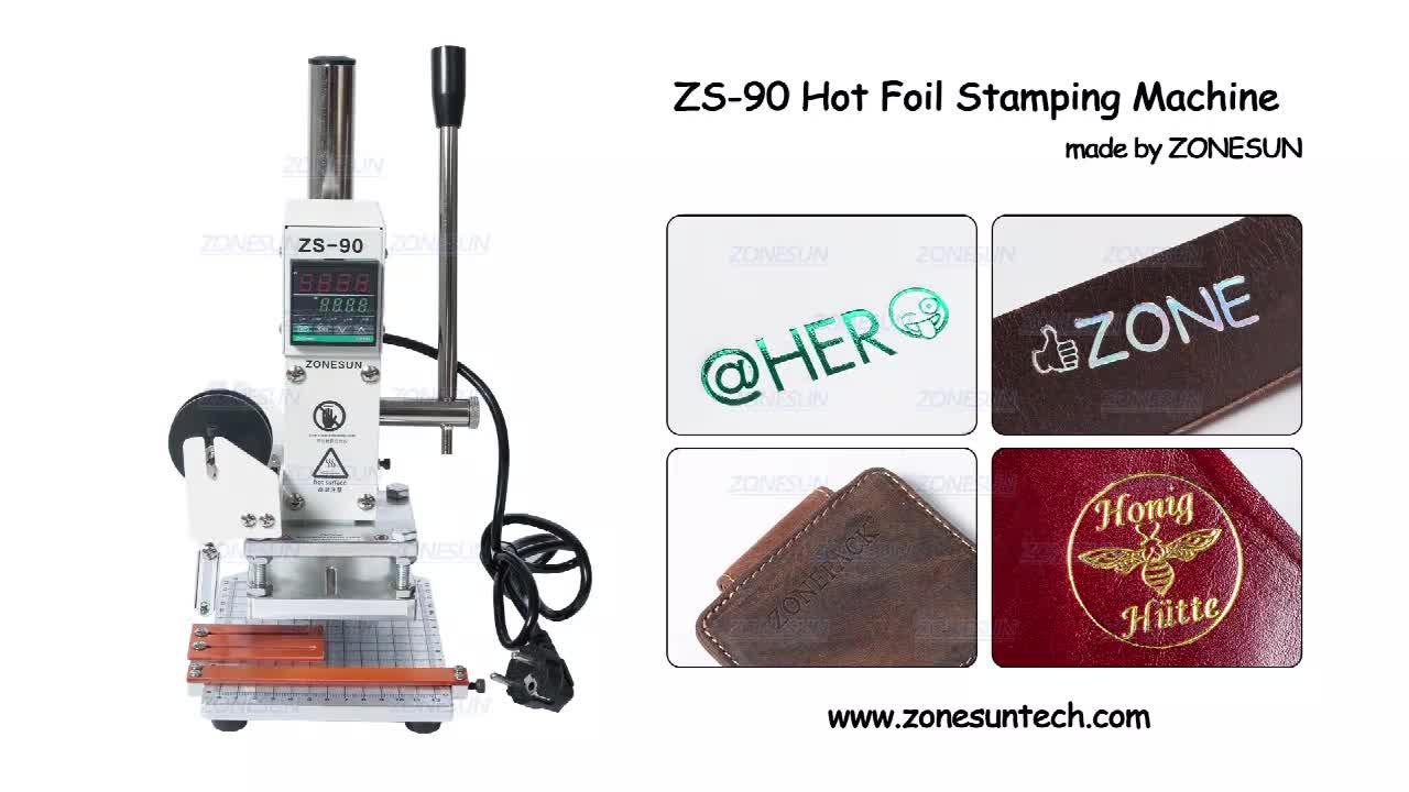 ZONESUN Dijital Sıcak Folyo Damgalama Makinesi Deri Isı Basın Makinesi için PVC karton kutu Sıcak Kabartma Damgalama Makinesi