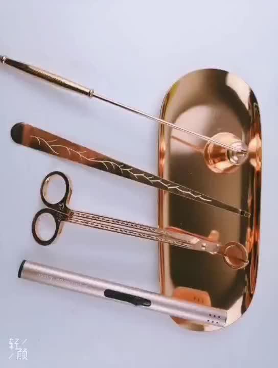 สแตนเลสใส่ออกไส้ตะเกียงเทียนตะขอ Snuffers (ทอง)