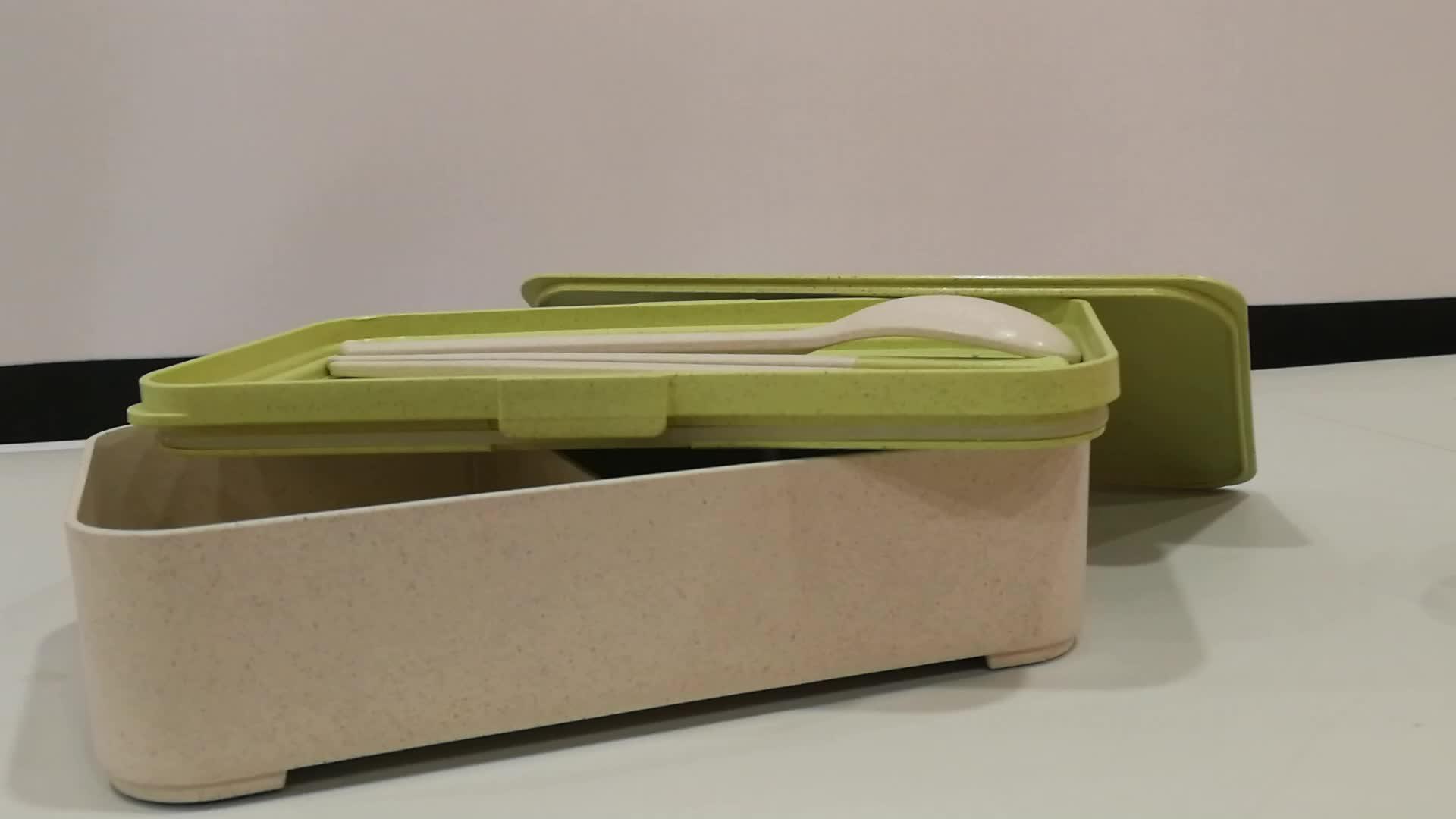 Customized Logo Leak Proof  Biodegradable Wheat Straw  Bento Lunch Box