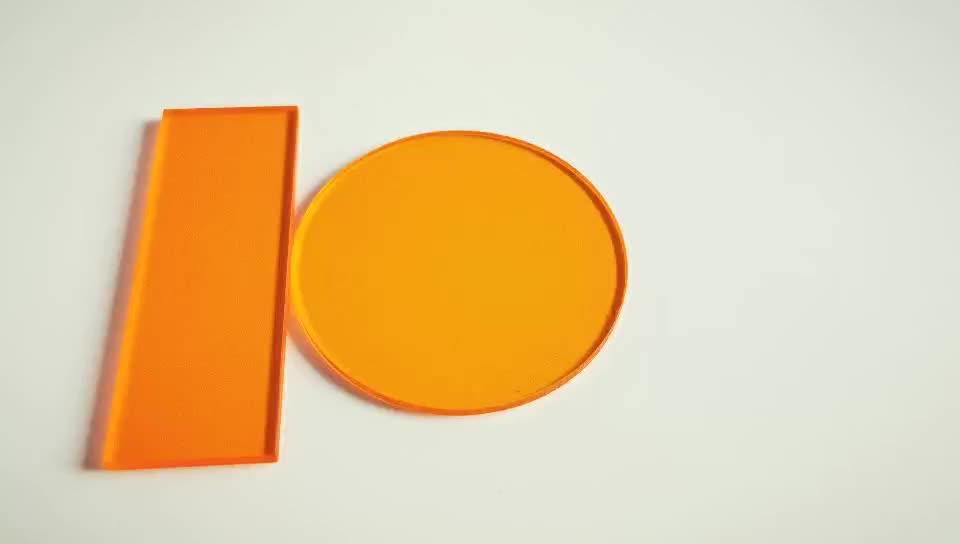 CB535nm,550nm,565nm,580nm Cut Off Color Glass Filter Orange Glass