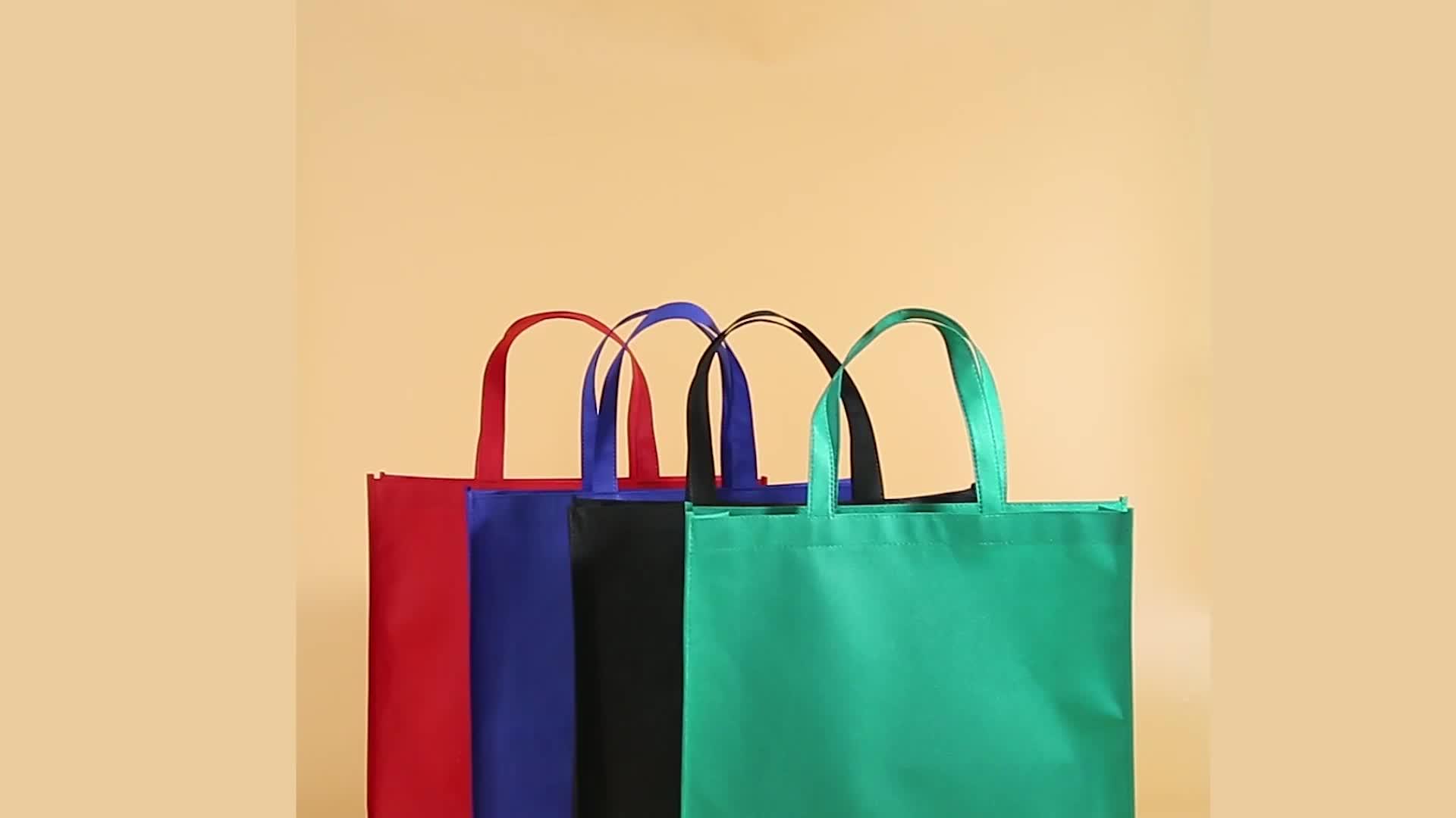 กระเป๋าโท้ทที่กำหนดเองพิมพ์พับผู้ให้บริการสีขาวไม่ทอถุงผ้า