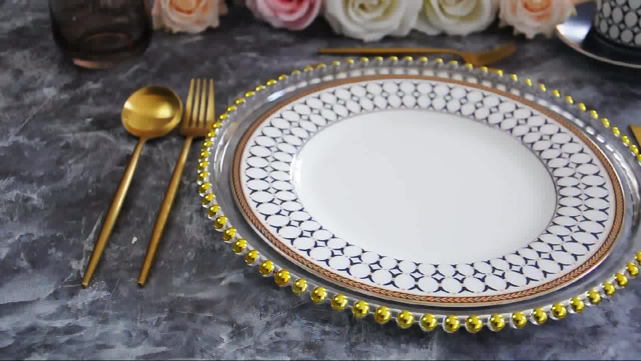 wholesale 13 inch clear round gold glass beaded charger plates for wedding underplate decoration
