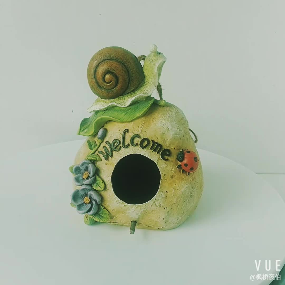 Wholesale Resin Craft Stone Look Birdhouse Sign Welcome Polyresin Rock Birdhouse with Snail