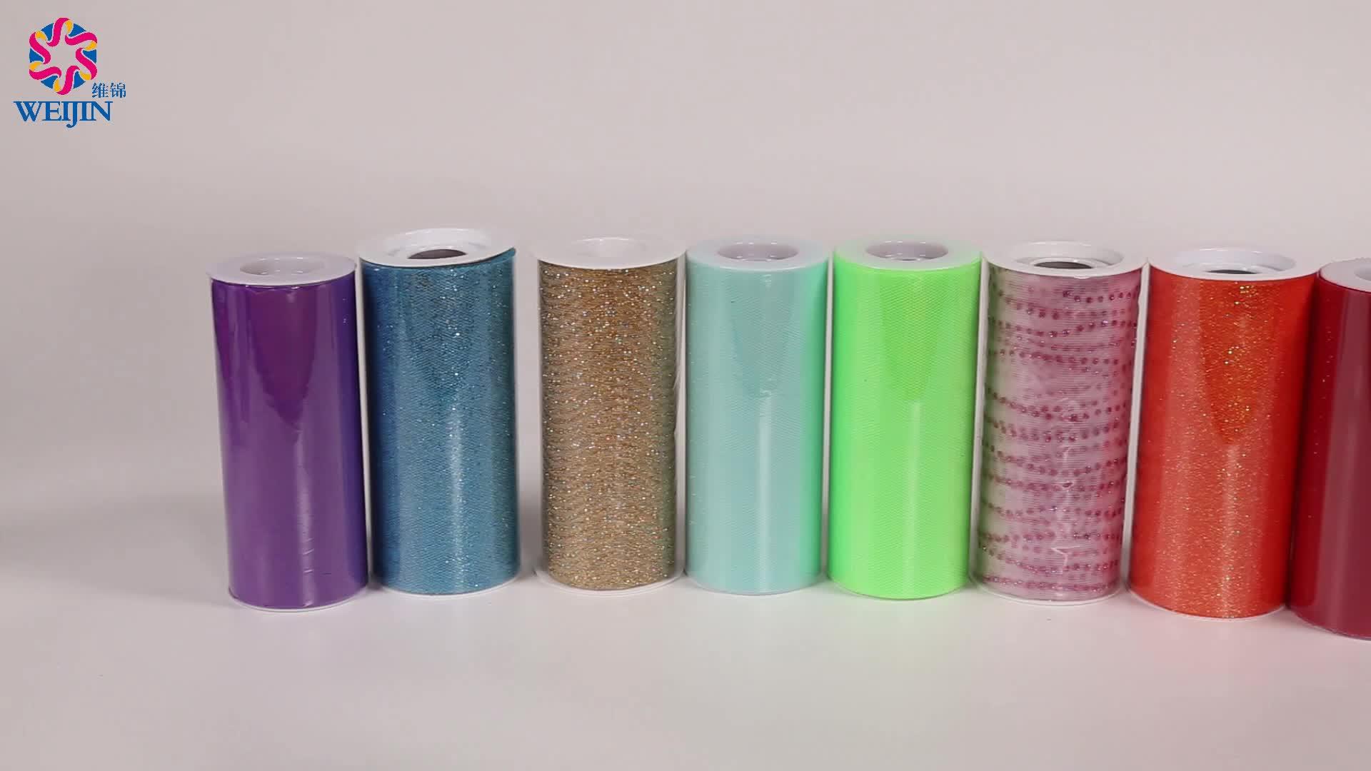 6 pouces Rouleau de Tulle 20 Verges Maille Tissu Mariage Décoration 100% Polyester Floqué Microfibre Tutu Rouleau de Tissu