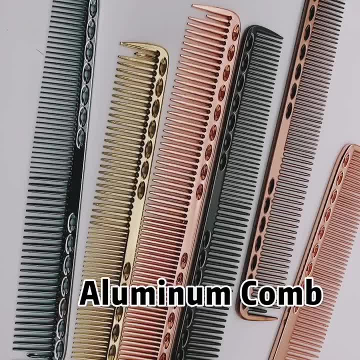 Hairdressing wholesale custom electrical aluminum plated barber hair combs for salon