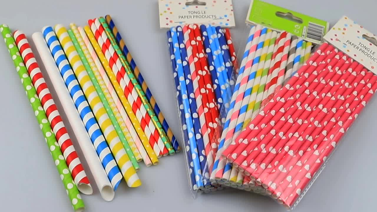 Wholesale Disposable biodegradable paper drinking straw with FDA certificate striped paper straws