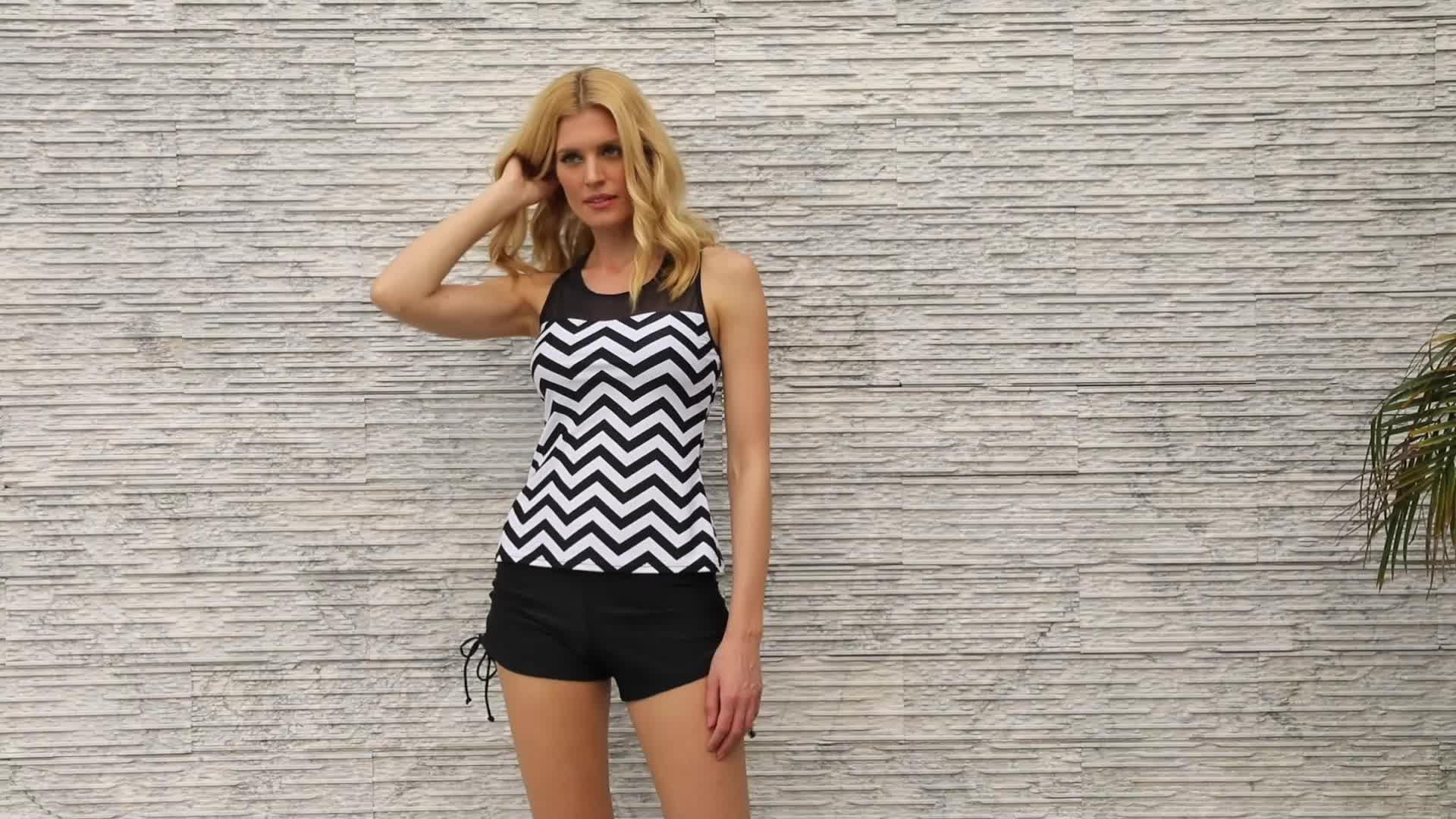 2019 Swimwear Black And White Print Swim Suit Women Swimsuit Tankini Sets