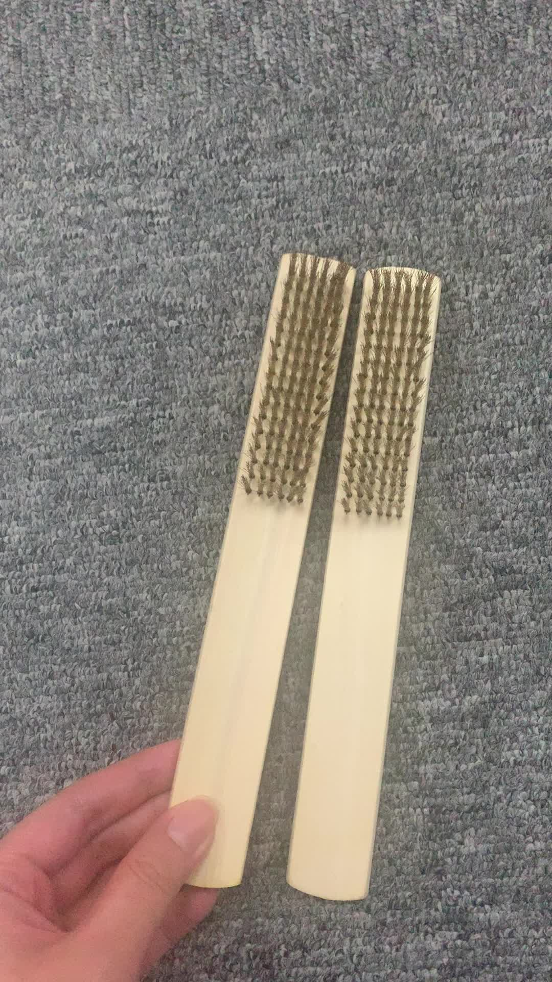Paint cleaning copper wire brush with wooden handle