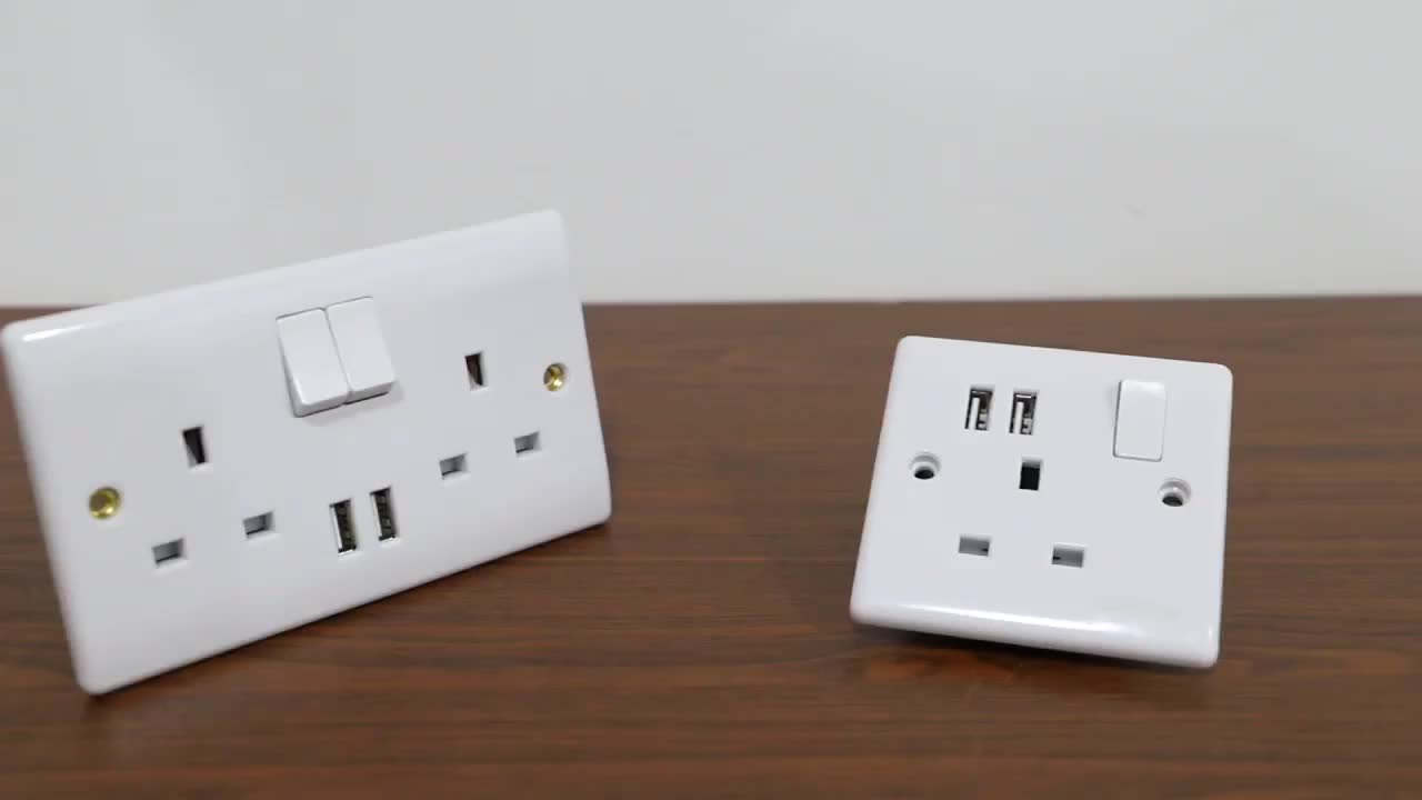 UK electrical 13A wall socket switch with 2 USB port