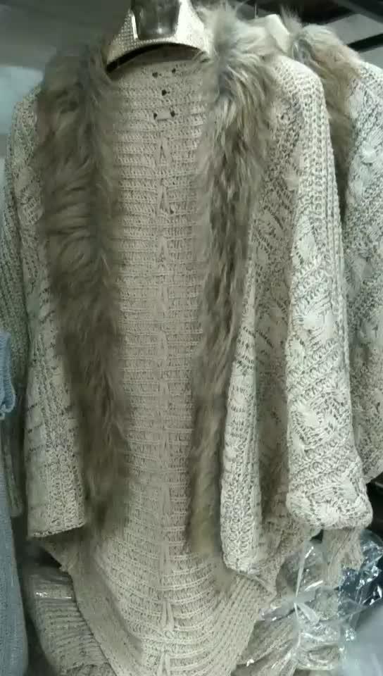 Gaya eropa Kerah Bulu Lengan Kelelawar Rajutan Kardigan Selendang Mantel Musim Dingin Sweater