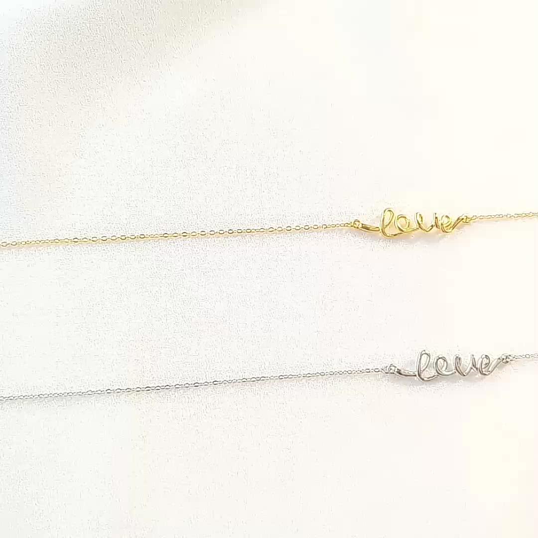 A1370 encanto regalo joyería de oro 18k collar carta de amor por Moyu