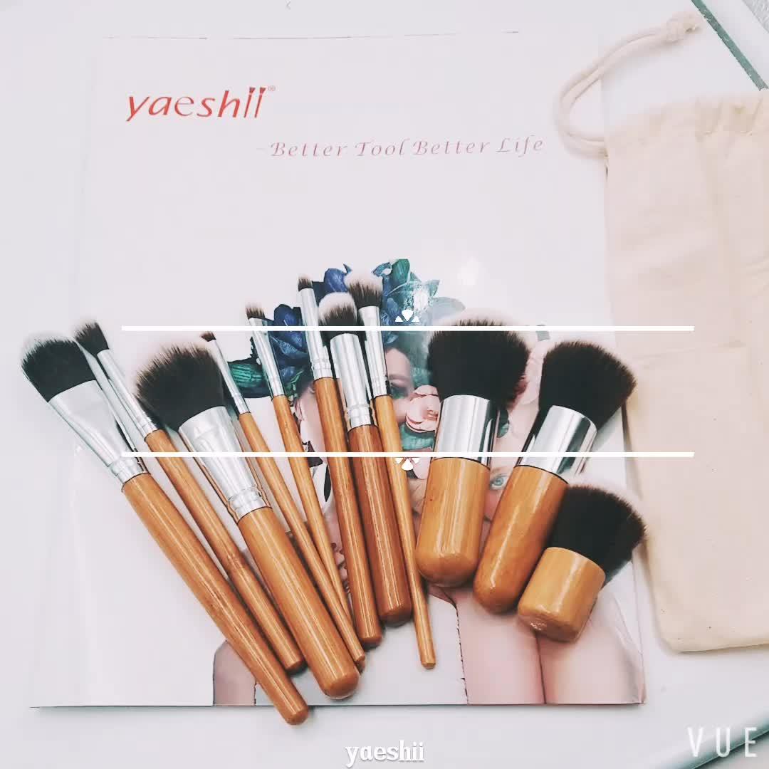 Yaeshii 11-Piece Bamboo And Wood Handle Makeup Brush Set With Canvas Bag