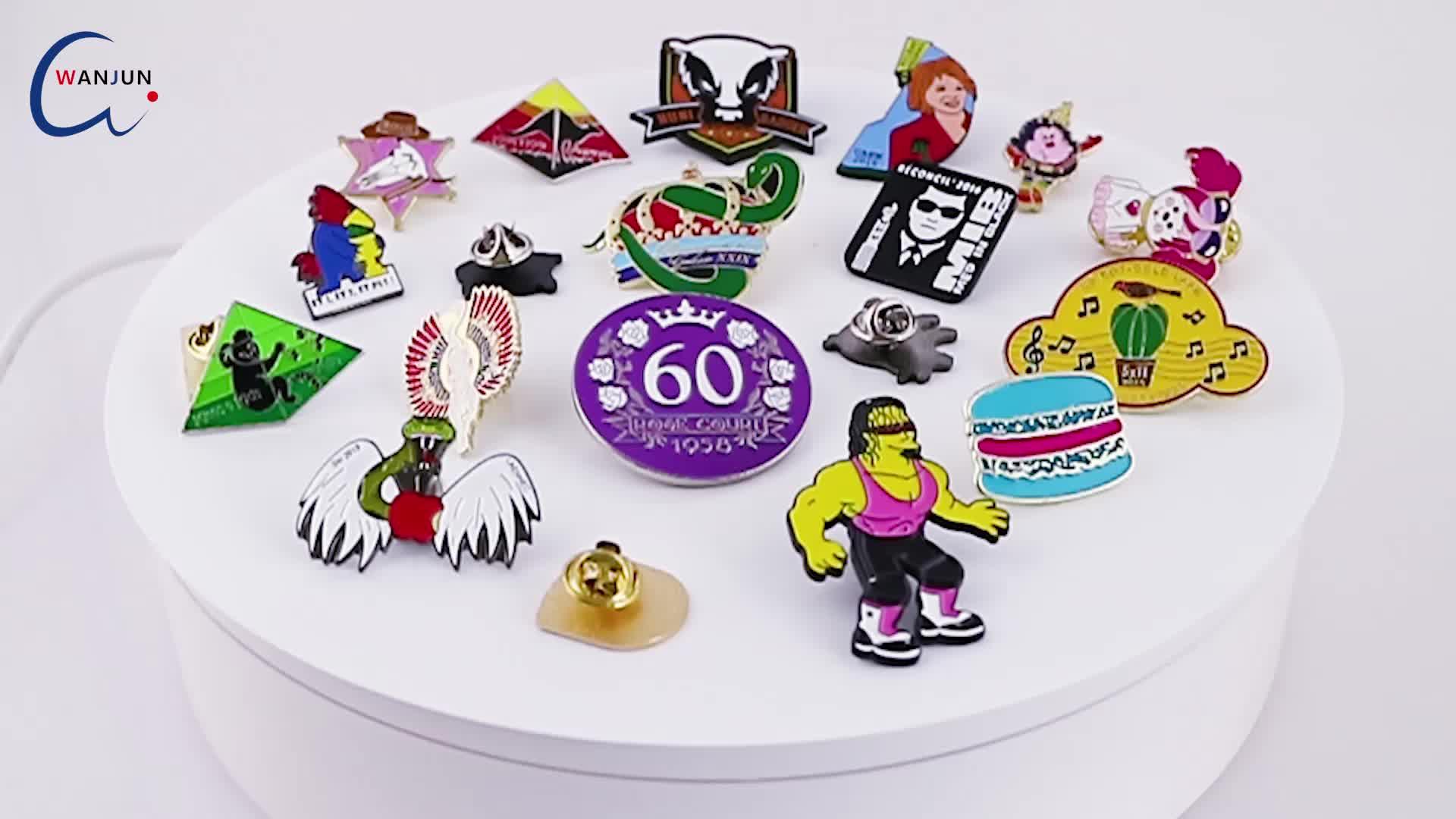 Custom 3D Badges Metal Pins Printed Animal Safety Anime Badge Cartoon Colored Push Label Pin