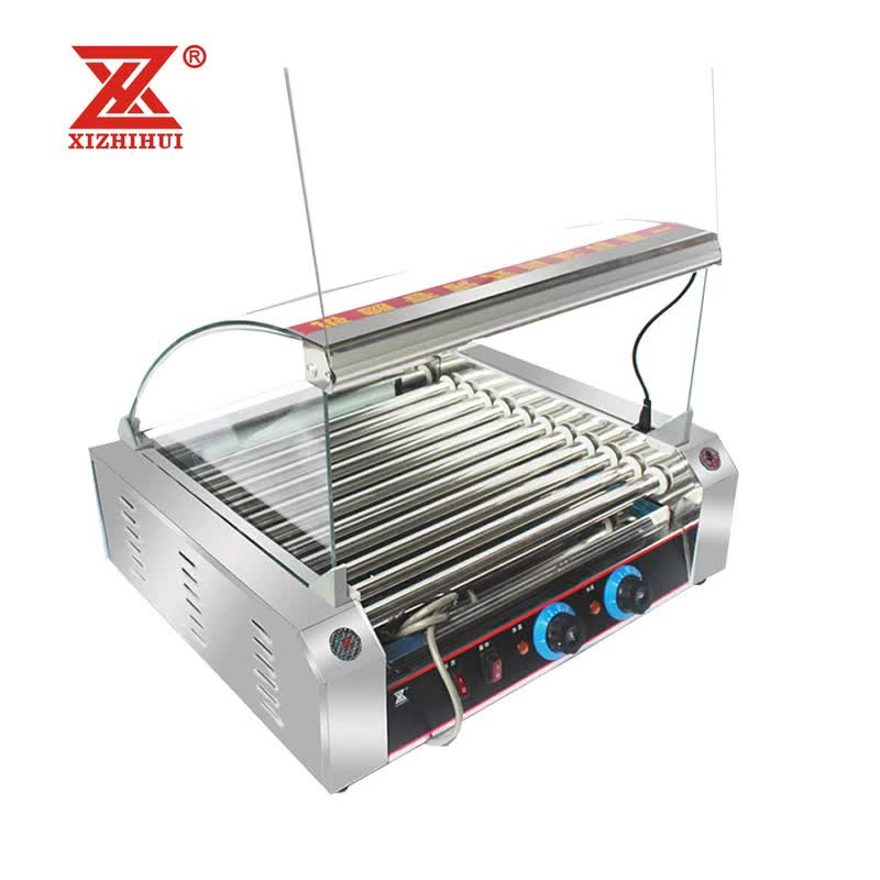 11 rollers hot dog grill  with Turn over door Removable sausage roller grill