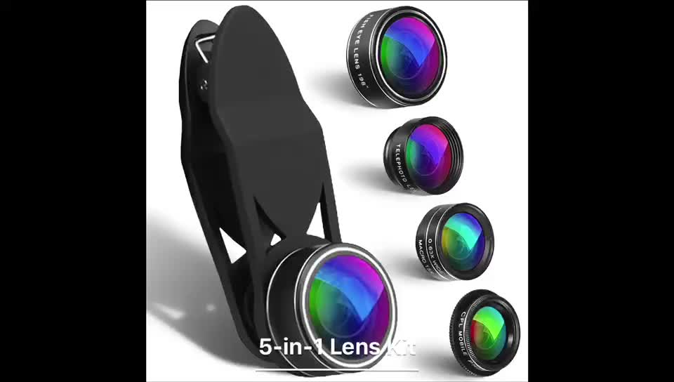 Mobile cell phone camera lenses 5 in 1 clip on fisheye ,telephoto ,wide angle macro lens for mobile phone camera