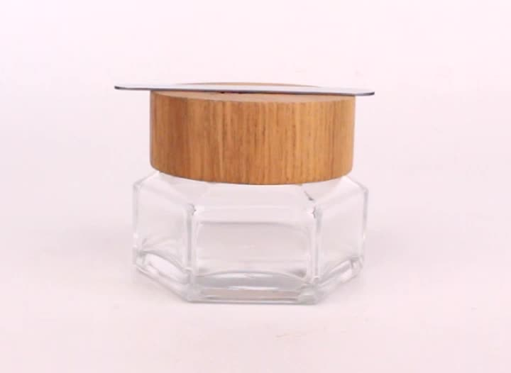 50g clear facial mask cosmetic glass packaging jar with wooden cap and magnet spoon