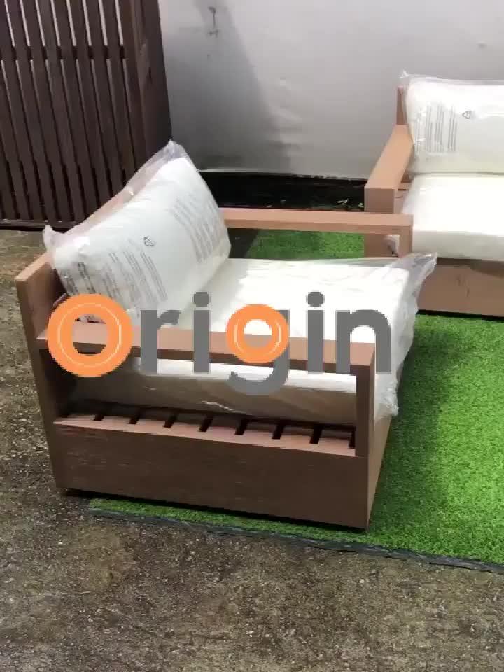 Luxo grosso braço design moderno conjunto de sofá de madeira teca mobiliário exterior